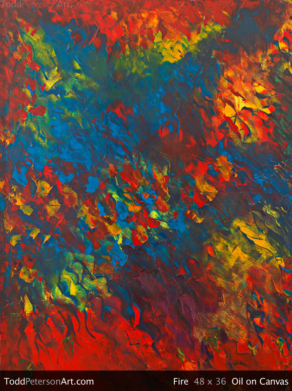 Fire oil on canvas painting from Todd Peterson's Passion Collection