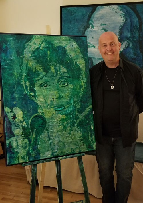 Todd Peterson next to his completed tribute piece of Carol Brunette